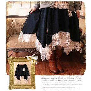 Skirts Japanese Mori Girl Lolita Pleated Embroidery Skirt Women Patchwork Lace Irregular Loose Cute Female Kawaii Mid Calf C067