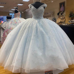 Light Blue Quinceanera Dress V-neck Ball Gowns Prom Formal Evening Gown Tulle Cap Sleeve Pageant Sweet 16 Dress Cheap Long