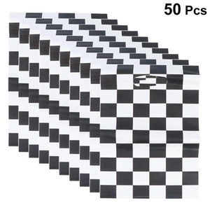 50pcs Racing Car Theme Gift Pouch Black and White Checkered Printing Packing Tote Bags Gift Wrapping Supplies for Birthday Party