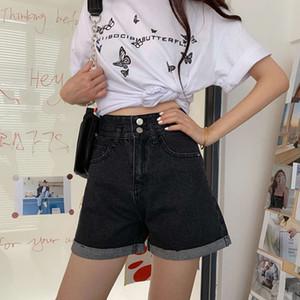 The NewSpring 2021 new Hong Kong Style Sexy bag hip high waist show thin FLANNEL Denim Shorts hot women's pantsv