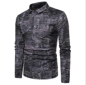 Contrat Color Color Designer Traves Costume Fit Vêtements Mens manches longues Patchwork Casuak Polos