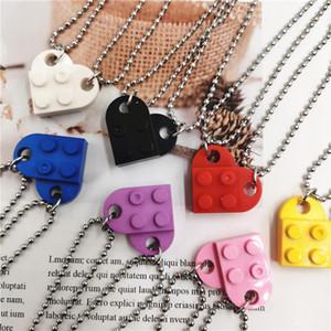 2Pcs Set Beads Necklace Building Brick Heart Necklace for Women Men Lego Elements Couple Valentine's Gifts Punk Girlfriend Necklaces