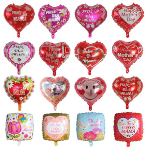 Happy Mothers Day Balloons I Love You Mom Heart Shape Foil Balloons 18 inch Helium Balloons Mother's Day Decorations Mama Gifts BT1078