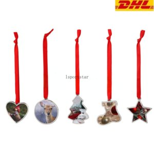 DIY Pendants Hangings Blank Sublimation Alloy Heart Round Shoe Star Shape Christmas Decorations Christmas New Year Tree DHL Shipping