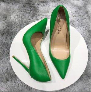 Moda Diseñador de lujo Más Tamaño Euro45 Bombas para mujer Talones de altura Rojo de las mujeres Puntas puntiagudas Talleto Tacón de alojamiento Zapatos Solid Solid 8cm 10 cm 12 cm
