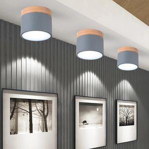 Ceiling Lamp Nordic Round diameter 9cm corridor Aisle small Cylindrical lamp Real wood + Iron Macaron Creative LED Spotlight R187