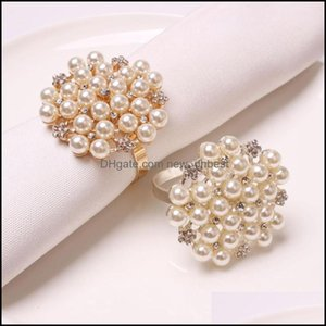 Table Aessories Kitchen, Dining Bar Home & Garden12Pcs Pearl Diamond Napkin Ring Desktop Decoration Used For Family Party Wedding Banquet We