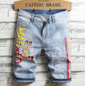 Mens Designer Bordado Blue Denim Shorts Crachá Verão Branqueado Retro Grande Letras Patches Jeans Shorts Calças 312