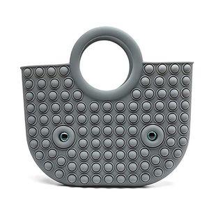Handbag Push Bubble Fidget Toy Party Favor 35*30cm Totes Creative Storage Bag Rainbow Silicone Stress Reliever Sensory Toys GWD9601