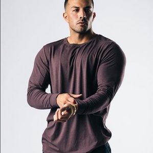 New 2021 Autumn Gyms Fitness Men Casual Solid Cotton Long Sleeves T-shirt Male Bodybuilding Workout Tees Running Sports Tops Clothes CF1R