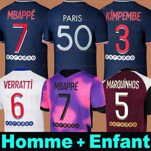 20 21 Thai Soccer Jersey Mbappe Verratti 2020 2021 Marquinhos Kimpembe di Maria Kean Football Jersey Soccer Tops Men Shirt و Kids Sets