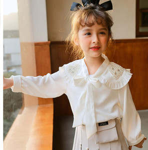 Girls Love Heart Pearl Falbala Lapel Shirt 2021 New Children Lace-up Bow Long Sleeve Shirt Kids White Princess Tops A5843
