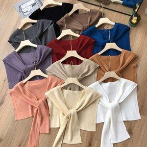 ~ Col de châle en tricot de couleur pure couleur de couleur multi-couleurs multi-couleurs pour protéger la colonne cervicale restez au chaud et confortable en automne