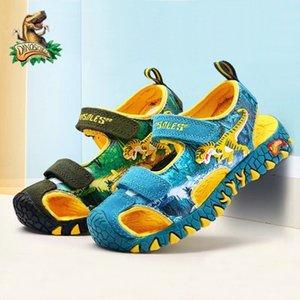 Dinoskulls Niños Sandalias T-Rex Boys Dinosaur Cerrado Cut-Outs Fashion Summer New Beach Zapatos Niños Sandalias Sandalias Cierre 210226