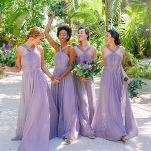 2021 Halter Bridesmaid Dresses A Line Ruched Maid of Honor Gowns Elegant Wedding Party Dress Custom Made