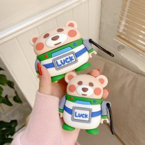 New Cute Cartoon Space Luck Bear 3D Case For AirPods 1 2 Pro Box Soft Silicon Wireless Bluetooth Earphone Protective Cover Coque
