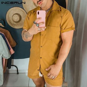 Camisa de solapa de manga corta corta corta y shorts 2 piezas incerun 2021 verano color sólido hombres sets con trajes de hombre de bolsillo de playa hawaiano 5xl