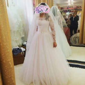 ZJ9070 2021 Ball Gown Wedding Dresses High Quality White Ivory Long Sleeve Lace up Back Bridal Women size 2-26W