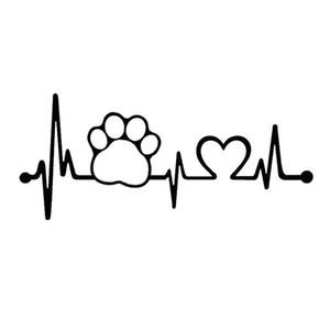 Heartbeat Love Dog Footprints Funny Car Sticker Pull Fuel Tank Pointer Reflective Vinyl Car Sticker Decal Creative Black
