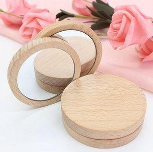 Madera Pequeño espejo redondo espejo portátil de bolsillo de madera Mini maquillaje de maquillaje Boda Favor de regalo Logotipo personalizado WWA142
