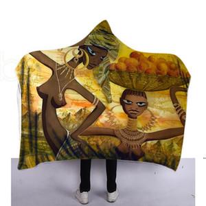 Impresión 3D Invierno Manta con capucha para niños para niños Adultos Decoración cálida Bed Sofá Sofá Sofá Mantas 130 cm * 150 cm 9 estilos HWC6301