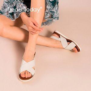 Beautoday Playa Sandalias Mujeres Genuine Cow Cuero Cross Tieg Top Quality Damas Hecho A Mano Casual Zapatos 32109 F1ID #