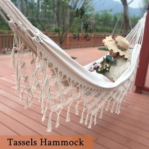 Tassels Hammock Swing Large Double Canvas Cotton Linen Hammock Bohemian Home Decor Hanging Bed Outdoor Camping Supplies