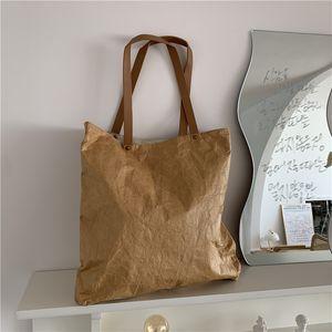 Retro-literary waterproof kraft paper du pont paper single-shoulder leisure bucket bag portable bento bag with meal bag cross C0225