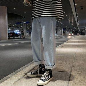 2021 New Men's Pure Retro Tube Coreano Trendy Jeans Mens Solto Calças Grande Tamanho Reta Comprimento Completo
