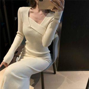 Nomikuma Women Slim Split Sweater Dress Long Sleeve V-neck Korean Elegant Knit Dresses Autumn Winter Baisc Vestidos 210222
