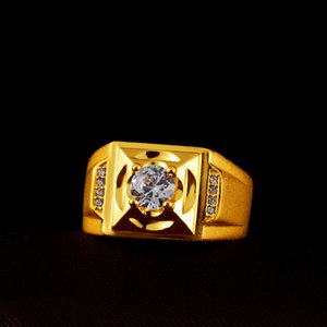 European and American Foreign Trade Zircon Plated 24K Color Gold Ring Personality Fashion Diamond Ring Wholesale Custom Hand Jewelry