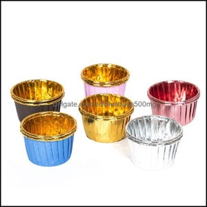Cupcake Bakeware Kitchen, Dining Bar Home & Gardencolor Cake Gold Double-Sided Aluminum-Plated Baking High Temperature Resistant Sier Roll M