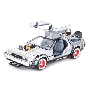 WELLY 1:24 DMC-12 Delorische Zeitmaschine Zurück in die Zukunft Auto Statik Die Gussfahrzeuge Kollektiv Modell Auto Spielzeug 210226