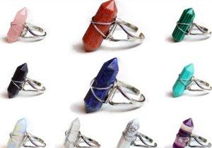 NEW Hexagonal Prism Rings Gemstone Rock Natural Crystal Quartz Healing Point Chakra Stone Charms Opening Rings for women men
