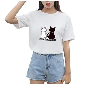HAMBODER 2020 Women T-shirts Spring Summer Short Sleeve Cat Printed Lady O-Neck T-Shirt Tops #35%
