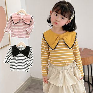 DUDU INS Quality Fashions Kids Girls Tshirts Turn-down Collar Stripes Tees Children Boutique Cloths Lovely Cute Girls T-shirts