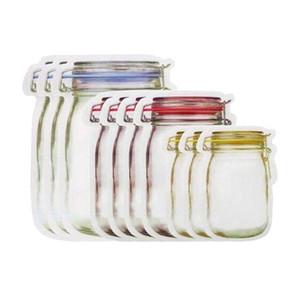 Wiederverwendbare Lebensmittelaufbewahrung Reißverschluss Taschen Mason Jar geformte Snacks luftdicht dicht Lebensmittelschoner-Leckdichte Taschen Küche Organizer Taschen VT2196