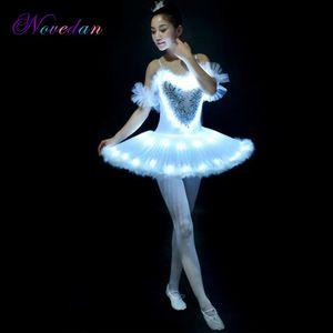 LED Light Swan Lake Ballet Dress Adult Children Fluffy Fluorescent Night Club Clothing Dance Costume Noctiluca Tutu Dresses