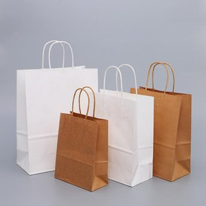 Gift Wrap 10PCS White Brown Paper Shopping Bags With Handles Bag Kraft For Baby Shower Party Wedding DIY Craft