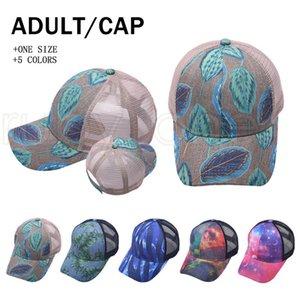 Pferdeschwanz-Baseball-Kappen gedruckt Mesh gewaschen Trucker Hüte Cap Outdoor Sport Visor Snapbacks Caps Party Hats 5styles Rra4181