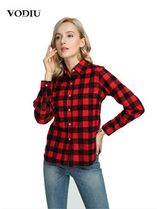 2021 New Autumn Fashion Women Cotton Plaid Blouses Long Sleeve Casual Checkered Shirt Plus Size 3xl 5xl Ladies Top Women's Clothing Nqmx
