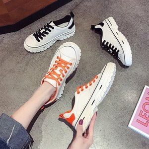 Womens Flat Sneakers 2019 Spring Autumn Casual Lace Up Female White Shoes Woman Flat Sneakers Leather Women Rubber Sole Shoes Summer S 40Lo#