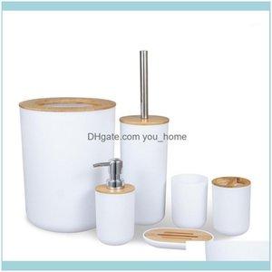 Aessory Bath Home & Gardethroom Aessories 6 Pieces Bamboo Room Set Toothbrush Holder Soap Dispenser Toilet Brush Trash Can Bathroom Essentia
