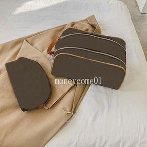 2 pièces Set 2022 Sac de maquillage double zippot de cuir + portefeuille de luxe de luxe de sacs à main Portefeuille d'embrayage de soirée