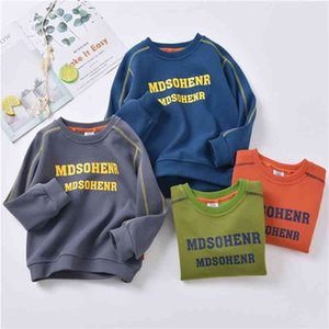 Kids Sweatshirt Fashion Spring Letter Print O-neck Clothes for Teenage Cotton Toddler Baby Sweatshirts 4 8 13Years 210622