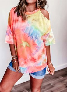 Designer Summer Tie T-Shirts Dye Womens O Neck Strapless Short Sleeve Tops Plus Size Loose Casual Women tshirts Clothig
