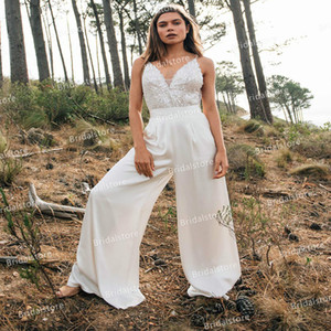 Chic Country Boho Jumpsuit Wedding Dresses 2021 Sexy Spaghetti Straps Lace Sequins Trousers Pant Bride Dress Cheap Summer Beach Bridal Dress