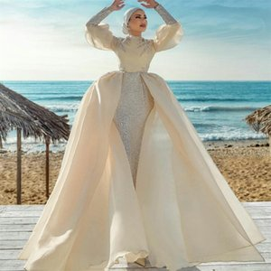 Ivory Vintage Muslim Wedding Dresses Long Sleeves Sequined Bridal Gowns with Detachable Skirt Plus Size Robe De Mariee