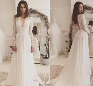 2021 Boho Lace Wedding Dresses Long Sleeves Chiffon Sweep Train Deep V Neck Custom Made Beach Wedding Gown vestido de novia Plus Size