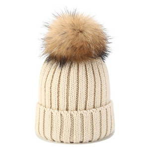 Women Winter Hat Knitted Wool Beanie Female New Fashion Casual Outdoor Thick Ladies Warm Fur Ball Hats